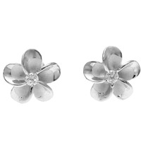 STERLING SILVER 925 HAWAIIAN 10MM PLUMERIA FLOWER STUD POST EARRINGS RHODIUM