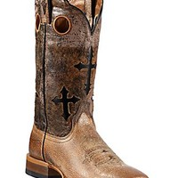 Ariat Ranchero Men's Quicksand Tan w/Crosses on Brown/Black Eclipse Top Double Welt Square Toe Western Boots