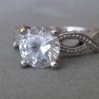 14k James Allen Solid White Gold engagement Ring infinity eternity CZ moissanite