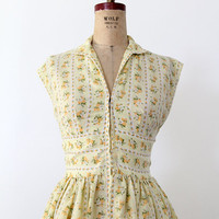 SALE vintage 70s floral dress / yellow mini dress