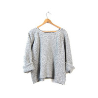 Boxy Black White Sweater Felted Wool Cropped Sweater 90s Oversized Scoop Neck Pullover Boho Basic Speckled Crop Knit Vintage Medium Large