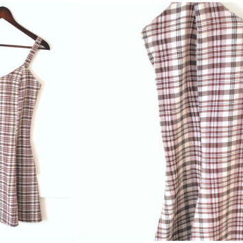 90s PLAID mini skater dress vintage 1990s GRUNGE flirty baby doll dress medium