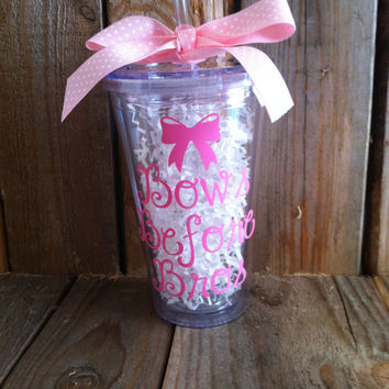 Personalized Sorority gifts,  Bows Before Bros 16 oz tumbler can be personalized