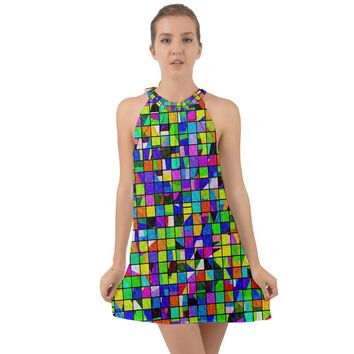 Colorful Squares Pattern Halter Tie Back Chiffon Dress