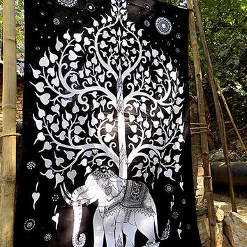 Black White Elephant Cotton Fabric Tapestry Hippie Tree of Life Wall Hanging Bedspread Throw Boho Bohemian Wall Decor Ethnic