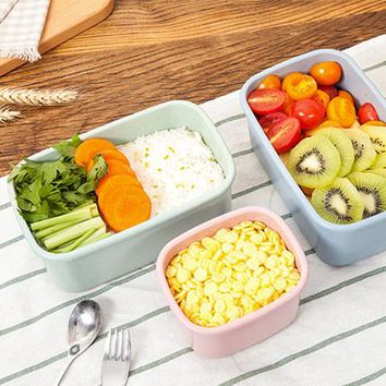 3 Pcs/lot Wheat straw Lunchbox Bento LunchBox Food Fruit Storage Container Plastic Lunchbox Microwave Cutlery Set Gift