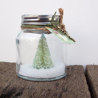 Green Shabby Cottage Chic Rustic Christmas Waterless Snow Globe Tree