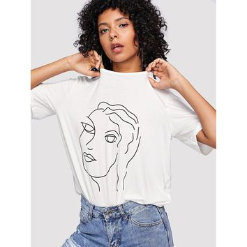 Abstract Portrait Print Tee WHITE