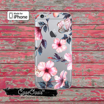 Pink Orchid Butterfly Pattern Tumblr Cute Clear Case iPhone 6 iPhone 6s iPhone 6s Plus iPhone 5/5s iPhone 5c iPhone SE iPhone 7 Plus Case