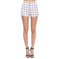 White Plaid Double Pocket Shorts
