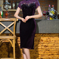Sequin Lace Tea Length Mother of the Bride Qipao