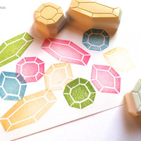 gemstone rubber stamps. hand carved rubber stamps. diamond stamps. diy stamping projects. diy wedding. set of 3.
