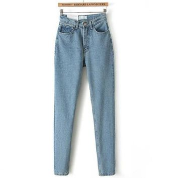 Women High Waist Denim Jeans Vintage Slim Mom Style Pencil Jeans High Quality Denim Pants