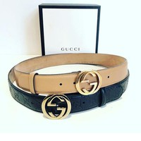 Gucci Girls Boys GG Smooth Leather Belt