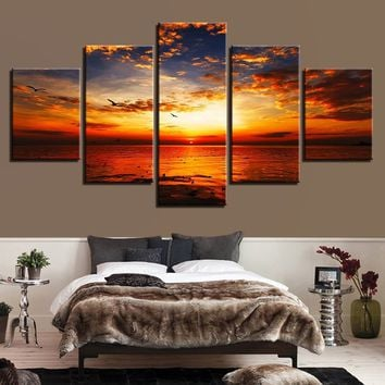 """""""LARGE 60""""""""x32"""""""" 5Panels Canvas Painting Wall Art Prints Pictures 5 Pieces Sunset Glow Tinted The Sky Red Bird Beach Seascape Po"""
