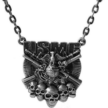 USMC Logo with Skulls and Guns Pewter Pendant Necklace