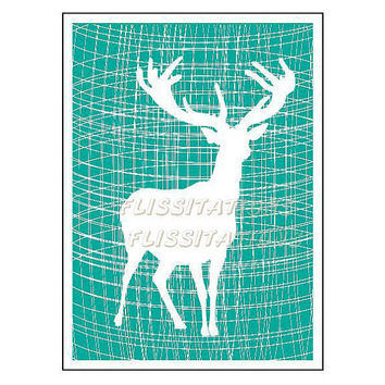 Trendy Stag Deer Silhouette Teal White Weave Pattern Modern Art  Home Decor Picture Poster Image