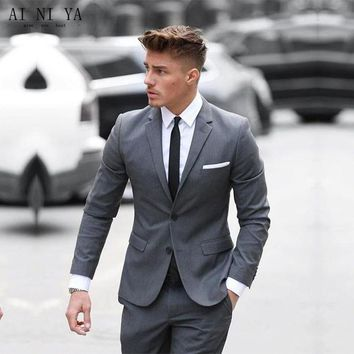 SUIT Two Buttom Mens Suits Classic Gray Cotton Blended Formal Business Men's Wedding Suits Slim Fit Groomsmen Tuxedo