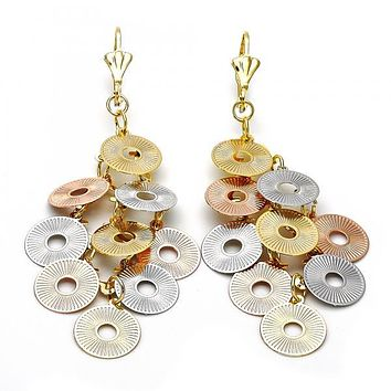 Gold Layered 5.087.003 Chandelier Earring, Disco Design, Diamond Cutting Finish, Tri Tone