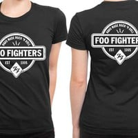 DCCK7H3 Foo Fighter Logo Hand Made Rock And Roll Est 2 Sided Womens T Shirt