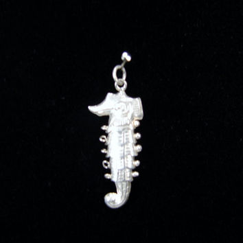Vintage Flexible Seahorse Charm, Sterling Silver, Articulated Charm, Movable Charm, Vintage Jewelry, Silver Charm