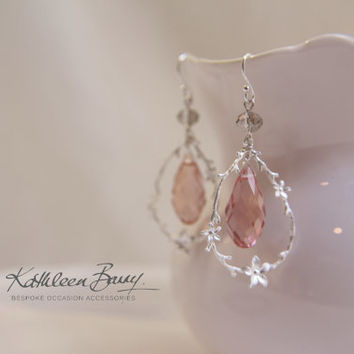 R450 - Pink and grey - Swarovski Crystal and Pearl Chandelier earrings