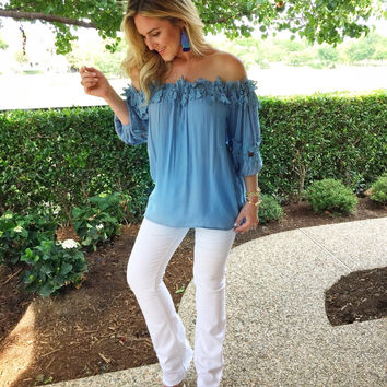 Skies are Blue Off the Shoulder Top