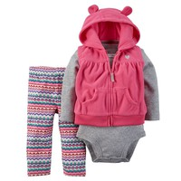 Carter's Animal Microfleece Hooded Vest Set - Baby Girl, Size: