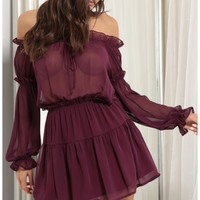 Party dresses > Wild Thoughts Off the Shoulder Dress in Plum