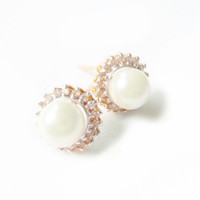 Vintage 1980s Pearl and Diamond Earrings 14k Two Tone Gold 18 Diamonds 5mm Pearls Bridal Jewelry