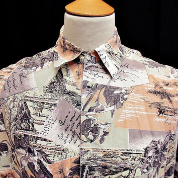 Vintage 90s Shirt CRAZY PRINT Indie Rome Italian Holiday The Trip Pattern Medium