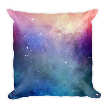 Galaxy Space Multi Colors Blue Green Pink Decorative Throw Pillow 18x18