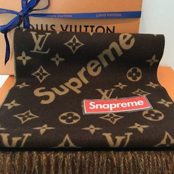 Gotopfashion Supreme x Louis Vuitton Monogram Scarf | LV box logo MP1891 LIGHT BROWN