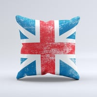 Scratched Surface London England Flag  Ink-Fuzed Decorative Throw Pillow