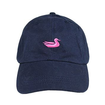 Hat in Navy with Pink Duck by Southern Marsh