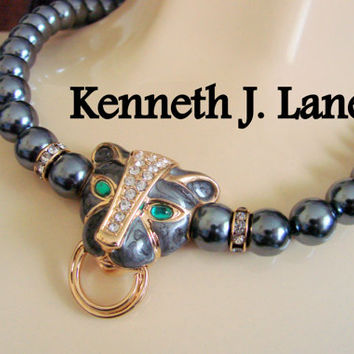 Vintage 80s Statement KJL for Avon Necklace / Kenneth J. Lane / Faux Black Pearls / Rhinestones / Lion Motif / Jewelry / Jewellery