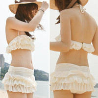 YESSTYLE: 45SEVEN- Frilled Bikini (Ivory - One Size) - Free International Shipping on orders over $150