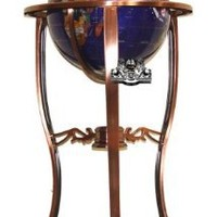 "Unique Art Since 1996 Brand 37"" Tall Bahama Blue Pearl Swirl Ocean Floor Standing Gemstone World Globe with Tripod Bronze Copper Stand and 50 US State Stones"