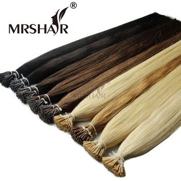"MRSHAIR Pre Bonded Hair Extensions I Tip 1g/pc 16"" 20"" 24"" Straight Keratin Human Hair On Capsule Real Hair Extensions 50pcs"