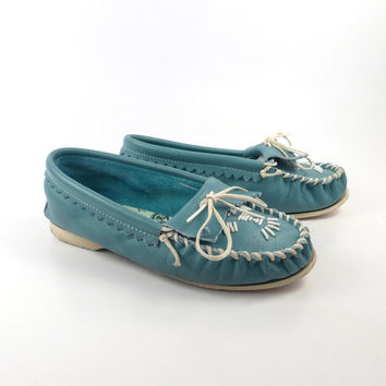 Taos Leather Moccasin Vintage Turquoise Blue Shoes Beaded