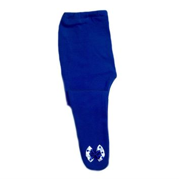 Baby Girl Royal Blue Tights with Polka Dot Bow