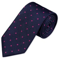 Navy and magenta classic spot woven tie | Men's woven silk ties from Charles Tyrwhitt | CTShirts.com