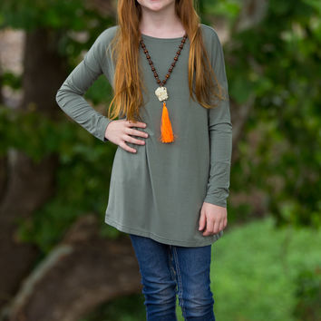 The Perfect Kids Long Sleeve Piko-Olive