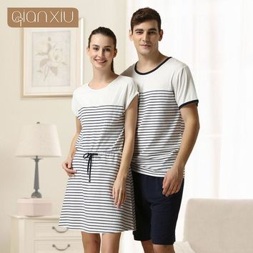 DKF4S 2016 Special Offer Sale Sashes Striped Gecelik Qianxiu Brand Lingerie Girl Sexy Sleepshirts Cotton Nightgown Kintted Underwear