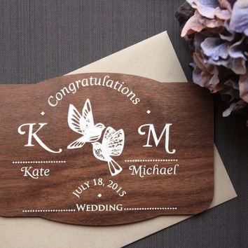 Wedding Congratulations Wood  Card - Wooden Wedding Cards - Monogram Names