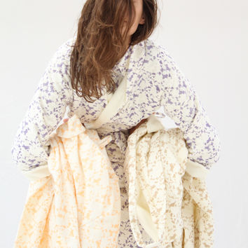 Lina Rennell Organic Cotton Robe Lace Citrus