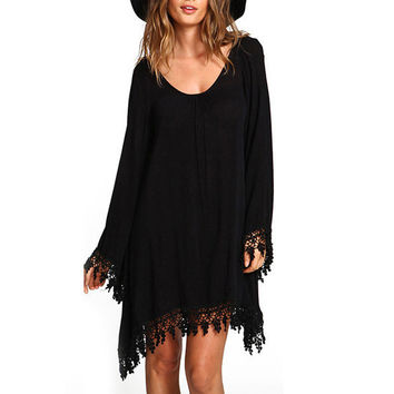 2016 Autumn Women Ladies Casual Loose Long Sleeve Tassel Black Party Dress vestidos Summer Boho Beach Maxi Office Dresses
