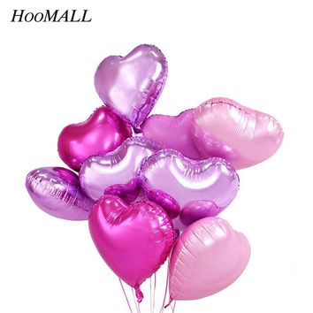 Hoomall 10PCs Heart Star Foil Balls Birthday Decorations Kids Air Helium Balloons Inflatable Balls Wedding New Year Decoration
