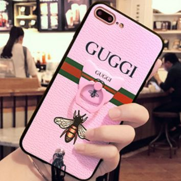 Gucci Iphone7 mobile phone shell women fall all silica I8 iPhone7plus protective sleeve 8plus lanyard bracket Pink