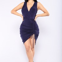 Yamiya Ruched Dress - Navy